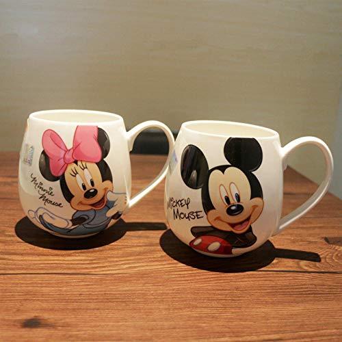 YXYLQ 2 Pcs/Lot Dessin Animé Couples Tasse Mickey Minnie Tasses en Céramique Lait 320 ML Tasses À Café Créatives Mignon Petit Déjeuner Tasse d'anniversaire Cadeau De Noël-Mickey_and_Minnie