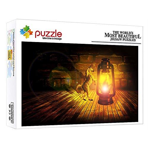 ZTCLXJ 1000 Piece Jigsaw Puzzle Lámpara De Aceite De Caballo Encogido De Animales De Fantasía 1000 Piezas Jigsaw Puzzle Game para Adultos Niños Educativos Juegos 38 × 26 Cm
