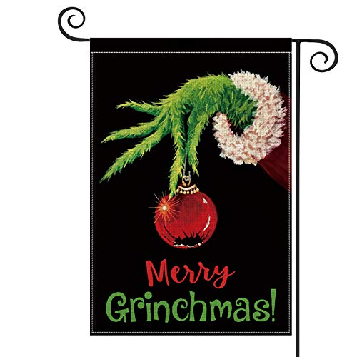 AVOIN Merry Grinchmas Garden Flag Vertical Double Sized, Christmas Grinch Winter Holiday Party Yard Outdoor Decoration 12.5 x 18 Inch