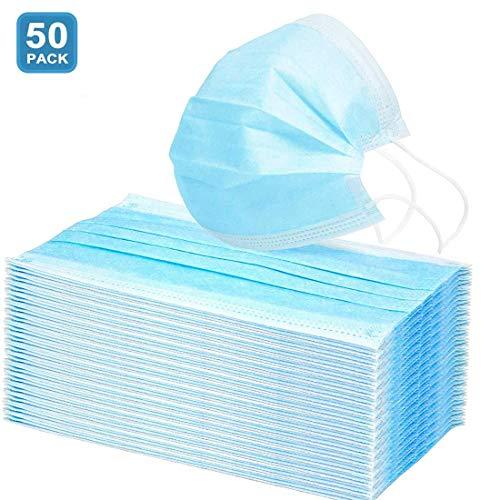 N/M 50 Pcs Einweg Mund Nasen Schutz, Zur dreischichtig Schutzhülle atmungsaktiv bequem, für die Gesichtsgesundheit geeignet