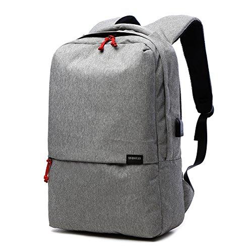 HOT YLYH Business Slim Laptop Rucksack mit USB-Ladeanschluss Notebook Schulrucksack 20L Kompatibel Anti-Diebstahl und Wasserdichte Taschen 15,6 zoll Computer Daypack (Grau)