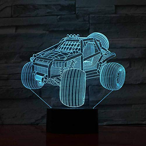 DFDLNL Lámpara 3D Ilusión Led Luz de Noche Coche Mesa de Escritorio Linda Lámpara de Noche Compartimento Alimentado por batería Cable USB Luminaria