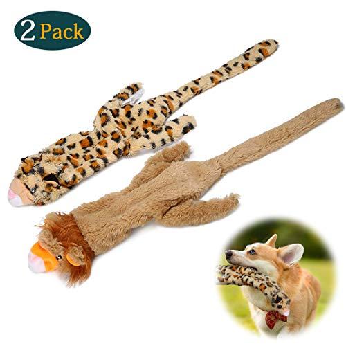 2 Stück Hundespielzeug, Hund Quietschende Kauen Spielzeug, Plüsch-Quietschspielzeug für mittelgroße und große Hunde, strapazierfähiges(Löwe und Leopard)