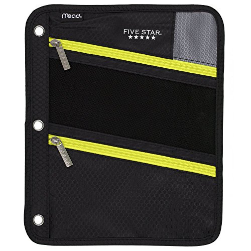 Five Star Zipper Pouch, Pencil Pouch, Pen Holder, Fits 3 Ring Binders, Black / Yellow (50642BB7)
