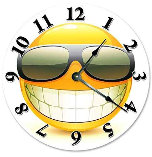 EasySells 10.5' Cool Smiley Emoji with Sunglasses Clock - Large 10.5' Wall Clock - Home Décor Clock