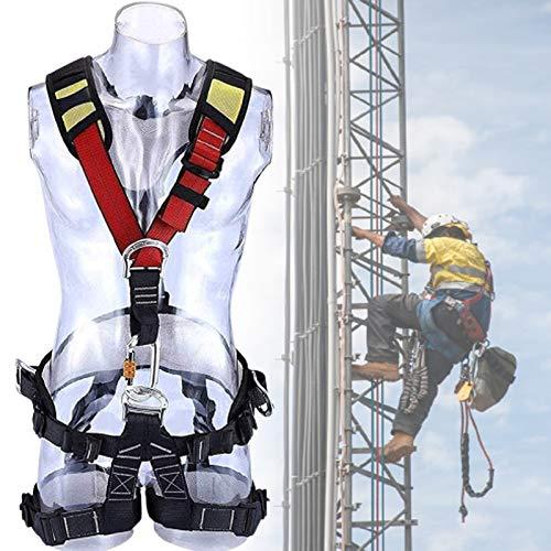 BDRPZX Arnés de seguridad de detención de caídas de cuerpo completo, arnés de seguridad de escalada con cordón, arnés ajustable para mayor nivel de espeleología, rapel, escalada deportiva