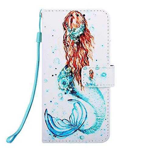 Miagon für iPhone 12 Pro Leder Hülle,Klapphülle mit Kartenfach Brieftasche Lederhülle Stossfest Handy Hülle Klappbar,Meerjungfrau