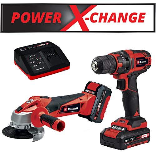 Einhell Maschinen-Set TC-TK 18 Li Kit Power X-Change (Li-Ionen, 18 V, Akku-Bohrschrauber TC-CD 18/35 Li + Akku-Winkelschleifer TE-AG 18/115 Li, inkl. 1,5 Ah & 3 Ah-Akku, Schnelladegerät)