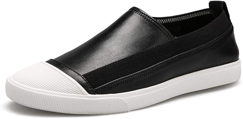 EGS-schuhe Turnschuhe für Herren Casual Outdoor Wanderschuhe Slip on Genuine Leather,Grille Schuhe (Farbe   Schwarz, Gre   41 EU)