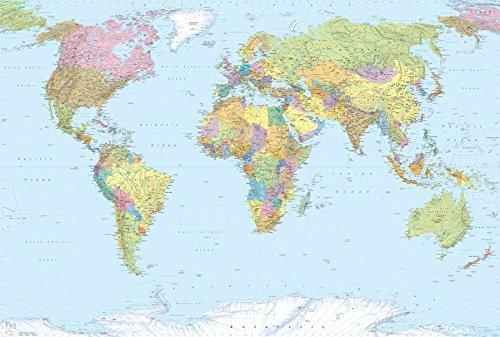 Komar Fototapete, XXL4-038, Vliestapete, WELTKARTE, 368x248cm Karte Landkarte Worldmap Länder Grenzen Grossformat