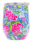 Lilly Pulitzer 12 Ounce Insulated Stemless Wine Tumbler with Lid, Stainless Steel Travel Cup, Bunny Business