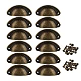 12pcs Door Drawer Cabinet Iron Shell Cup Semicircle Handle Pull Knob with Screws 8cmx3.5cm (Bronze)