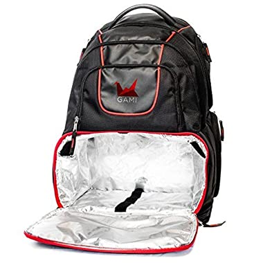 Meal Management Fitness Nutrition Backpack Bag Rugged with Cooler Lining Compartment Container Multiple Ventilated Storage Pockets Black and Red