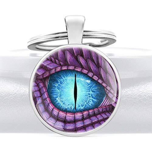YXDEW Unicado púrpura Dragón Diseño de Ojos Cúpula de Vidrio Colgante Llavero Charm Hombres Mujeres Anillos Llavero Regalos Llaveros Accesorios