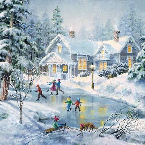 20 Servietten Kinder beim Eislaufen als winterliche Tischdeko mit Kinder im Schnee 33x33cm