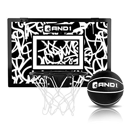 "AND1 Over The Door Mini Hoop: - 18""x12"" Easy to Install Portable Basketball Hoop with Steel Rim, Includes 5"" Mini Basketball, Indoor Game Set for Children and Adults- Black & White"