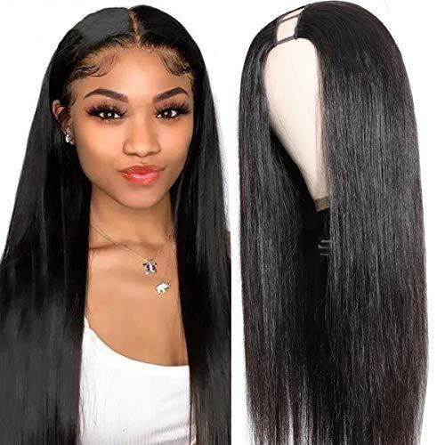 UNice Hair U Part Wig Human Hair Glueless Straight None Lace Front Human Hair Wigs for Black Women, Brazilian Virgin Hair Full Head U Shape Clip in Half Wig 150% Density 20inch