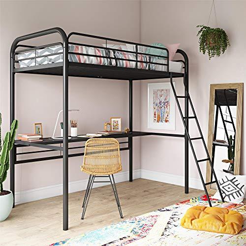DHP Bed, Twin Size Frame, Metal/Black Desk Loft,