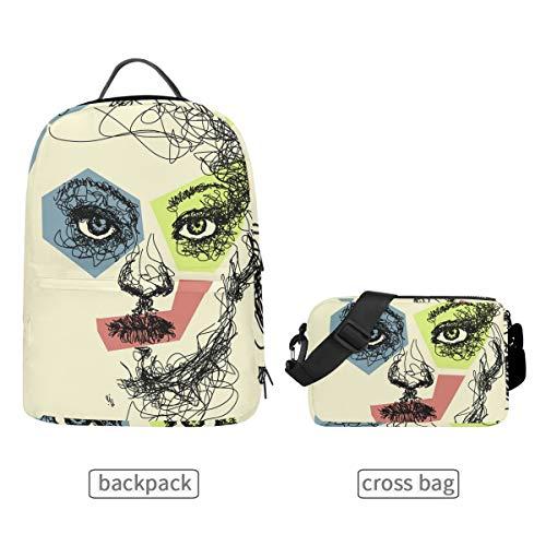 DEZIRO Art Vrouw Gezicht Schilderij School Pack met Afneembare Cross Bag Rugzakken