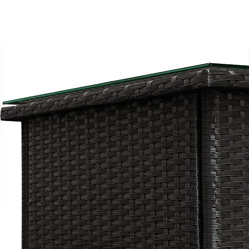 Deuba Polyrattan Tisch Beistelltisch Rattan Teetisch Gartentisch Glasplatte 50x50x45cm schwarz Garten Möbel - 6