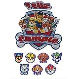 Mata Diseños. Topper de tarta de cumpleaños para niños Feliz Cumpleaños Patrulla Canina, (8pcs) incluye 7 Mini toppers para decoración de cupcakes. 100% Hecho a mano y diseño original
