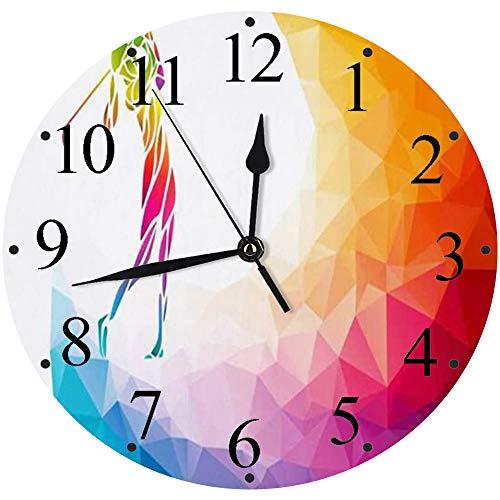 Reloj de Pared Moderno,Mujer LGBT Active Relax Jugador de Golf Signos LGBTQ Símbolos de Golf Deportes Recreación Swing,Reloj de Cuarzo de Cuarzo Redondo No-Ticking para Sala de Estar 30 cm