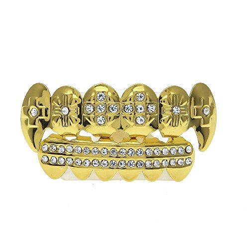 Kashyk Zahncaps, 6 Zähne vergoldet, Rap-Caps inklusive 1 x Dentalkleber, Diamant-Zahnschmuck, Gold/Silber, deckt die Zähne ab
