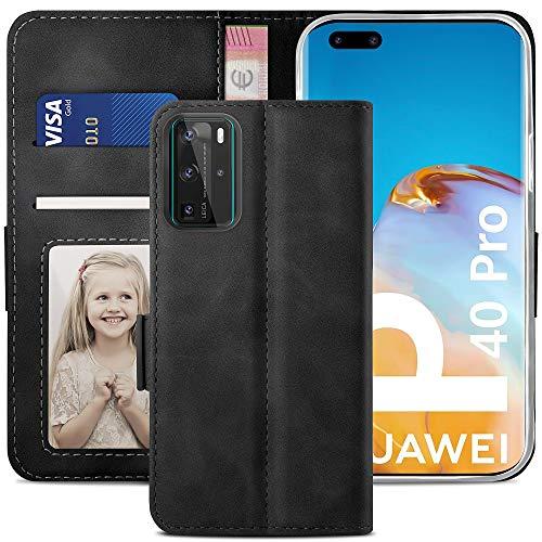 YATWIN Handyhülle Huawei P40 Pro Hülle, Klapphülle Huawei P40 Pro Premium Leder Brieftasche Schutzhülle [Kartenfach][Magnet][Stand] Handytasche für Huawei P40 Pro Hülle, Schwarz