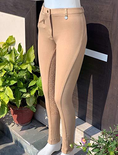 Avon Equine Reithose für Damen, Silikon, Vollbesatz | Premium-Qualität Baumwolle/Lycra-Stoff | Marineblau oder Schwarz | Hufeisen-Muster klebriger Silikongriff (Beige, UK 14)