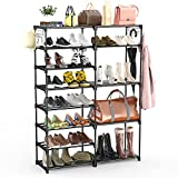 BASSTOP 8 Tiers Shoe Rack, Stackable Shoe Tower Organizer Non-Woven Fabric,...