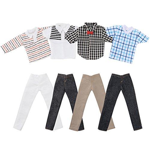 Asiv Abiti di Moda a Quadri con Giacca e Pantaloni per la Bambola Ken Un Insieme di 4