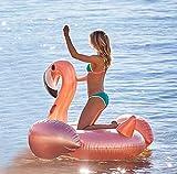 Flotador inflable M en forma de flamenco de color oro rosa para la playa o piscina