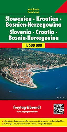 Slowenien - Kroatien - Bosnien Herzegowina, Autokarte 1:500.000: Citypläne, Touristische Informationen, Ortsregister mit Postleitzahlen (freytag & berndt Auto + Freizeitkarten)