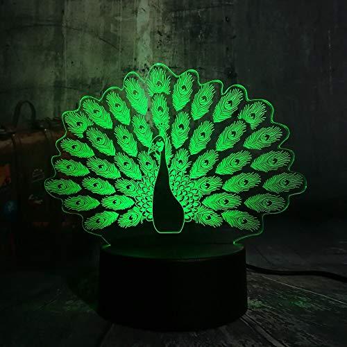 jiushixw 3D acryl nachtlampje met afstandsbediening van kleur veranderende tafellamp nieuw pauw pauw dak kindergeschenk modern zilver tafellamp