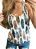Dokotoo Women Aztec Feather Print Round Scoop Neck Cami Tank Tops Sleeveless Casual Shirts Blouses Large Blue