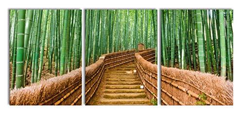 Pixxprint Kyoto, Giappone, Bamboo Forest, XXL Tela su Tela Fuori Misura 180x80m Totale 3 Pezzi/Stampa murale/Artistica