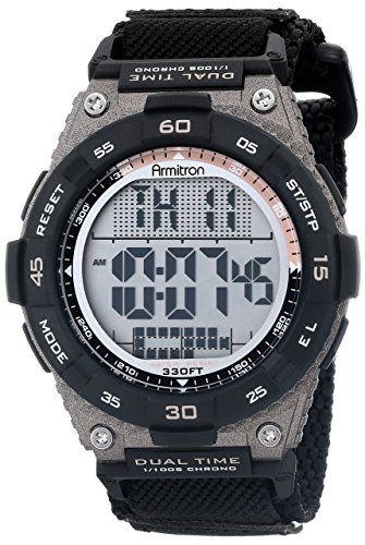 Armitron Sport Men's 40/8330BLK Brown Accented Digital Chronograph Black Nylon Strap Watch