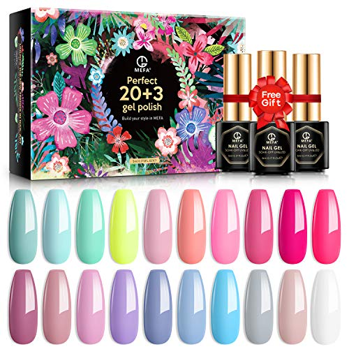 MEFA Gel Nail Polish Set 23 Pcs with Nice Box - Soak Off Nail Gel Summer Candy Colors Gel Varnish with No Wipe Base Coat Glossy Matte Top Coat for Nail Art Salon Design Manicure Starter Set
