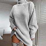 Avsvcb Otoño e Invierno Nuevo suéter de Punto Medio Manga raglán Medio Cuello Alto suéter Vestido