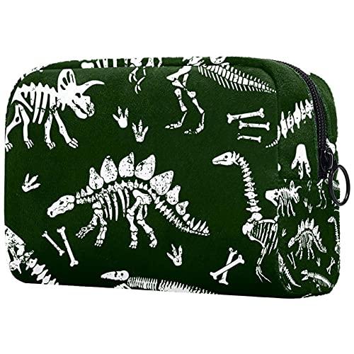 Cosméticos bolsa de aseo Bolsas de viaje bolso de negocios impermeable verde dinosaurios cráneo 18.5x7.5x13cm