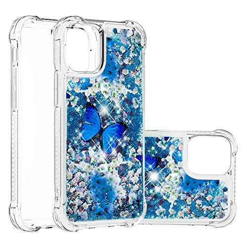 Girly - Carcasa para Apple iPhone 12 Mini 5.4 pulgadas, resistente con purpurina líquida, resistente a los impactos, resistente a los golpes, suave goma protectora (mariposa)