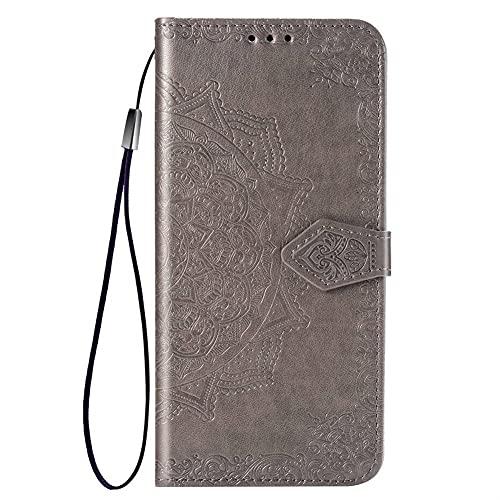 HHF-1 1fortunate Cajas del teléfono para LG K20 K30 2019, Mandala Flip 3D Cuero Teléfono Caja para LG K20 K30 2019 (Color : Gris, Material : For LG K20 2019)