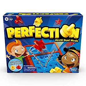 DUEL OR SINGLE PLAYER MODE: This edition of the Perfection board game features Duel mode, where 2 kids race at once to fit their shapes in the holes; or play the classic way where kids take turns CHOOSE A COLOR: The game comes with 25 red and 25 yell...