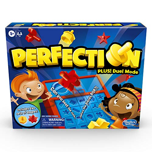 Hasbro Gaming Perfection Game Plus 2-Player Duel Mode Popping Shapes and Pieces Ages 5 and Up (Amazon Exclusive)