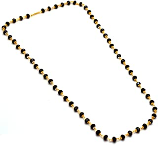 Mandi Chain Necklace One Gram Gold Black Crystal Mala Gemstones Jewelry 7428