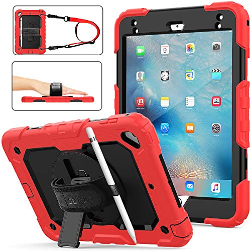Case for iPad Mini 5/4, Shockproof [Full-Body] Drop Protective Case with 360 Rotating Stand [Pencil Holder] [Screen Protector] Hand Strap for iPad Mini 5th/4th Generation 7.9 inch(Red+Black)