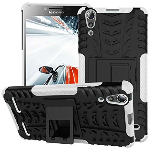 TiHen Handyhülle für Lenovo K3/A6000 Hülle, 360 Grad Ganzkörper Schutzhülle + Panzerglas Schutzfolie 2 Stück Stoßfest zhülle Handys Tasche Bumper Hülle Cover Skin mit Ständer -Weiß