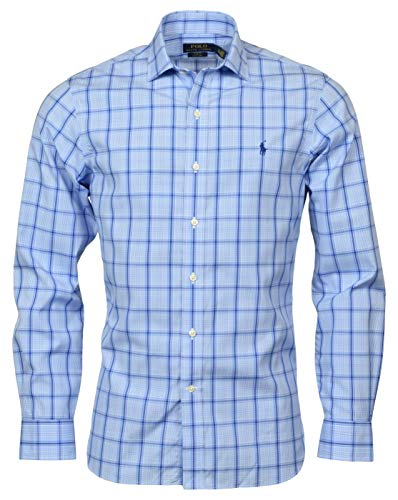 Polo Ralph Lauren Mens Slim Fit Easy Care Stretch Long Sleeve Oxford Shirt (17 Neck 36/37 Sleeve, Blue/Navy Plaid)