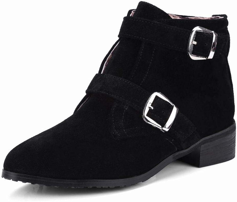 SED Damenschuhe - - Advanced Gaze Leder Spitz Stiefelies Niedrige Ferse Schuhe Gürtelschnalle England Stiefel   34-43 Damen Stiefel  Kostenloser Versand!