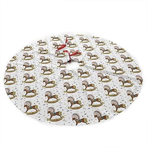 GOWINEU Boho Rocking Horse Christmas Tree Skirt Carpet Apron for Party Seasonal Décor 36 Inch Plush Tree Skirt